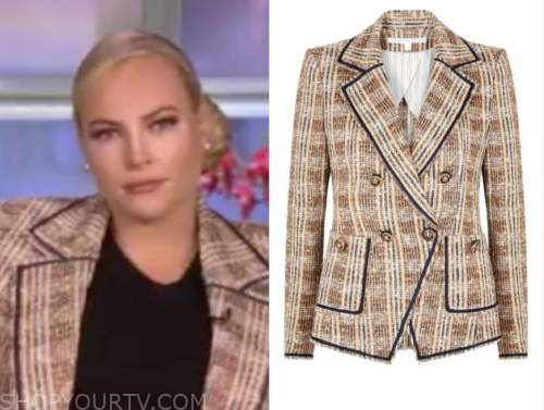 meghan mccain, brown tweed double breasted blazer, the view