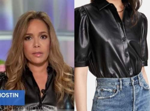 sunny hostin, black leather puff sleeve top, the view