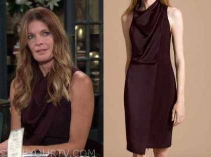 the young and the restless, michelle stafford, burgundy drape dress, phyllis newman