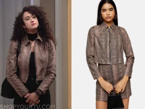 Alyssa Montalvo , the young and the restless, brown snakeskin jacket