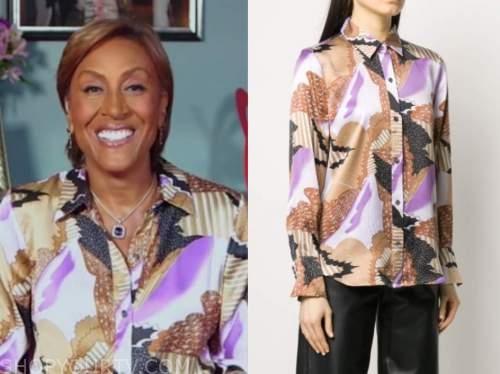 robin roberts, good morning america, abstract print silk shirt
