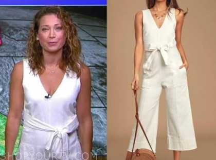 ginger zee, white jumpsuit, good morning america