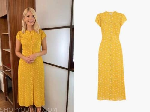 holly willoughby, this morning, yellow printed midi dress