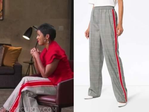 tamron hall, good morning america, plaid side stripe pants