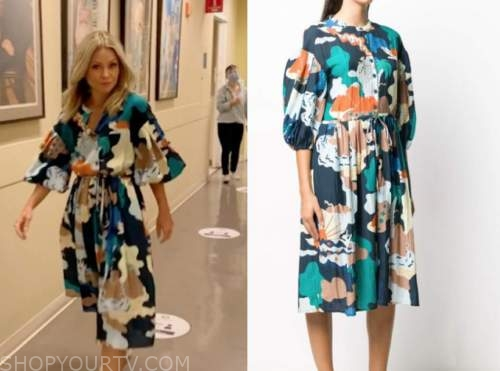 kelly ripa, abstract printed dress, live with kelly and ryan