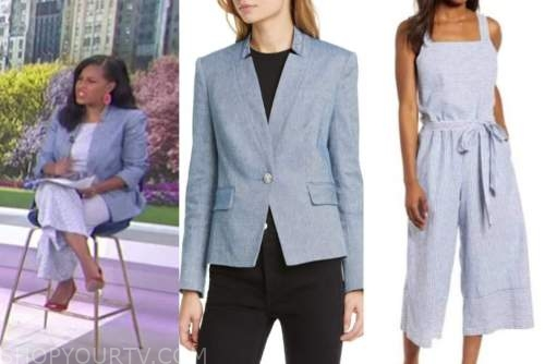 the today show, sheinelle jones, blue striped jumpsuit, blue blazer
