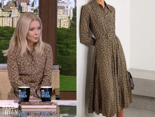 kelly ripa, brown paisley shirt dress, live with kelly and ryan
