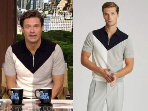 ryan seacrest, live with kelly and ryan, half zip knit polo top