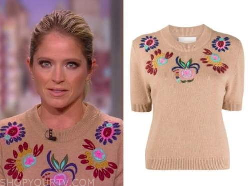 sara haines beige embroidered sweater, the view