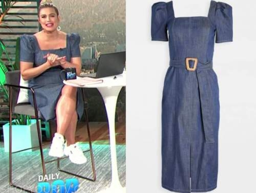 carissa culiner, e! news daily pop, denim puff sleeve dress
