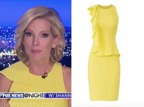 shannon bream, fox news at night, yellow ruffle sheath dress