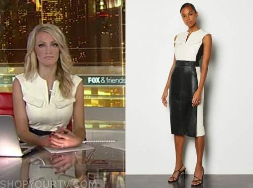 carley shimkus, fox and friends, ivory and black colorblock dress