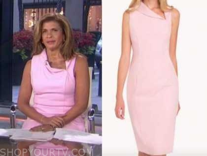 hoda kotb, the today show, pink folded neck sheath dress