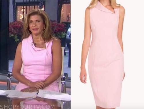 hoda kotb, the today show, pink folded neck sheath dress