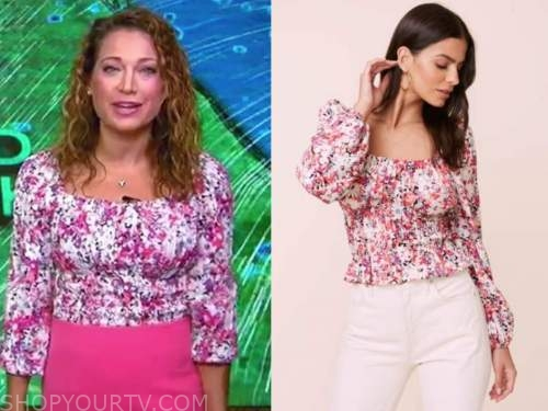 ginger zee, good morning america, pink floral puff sleeve top