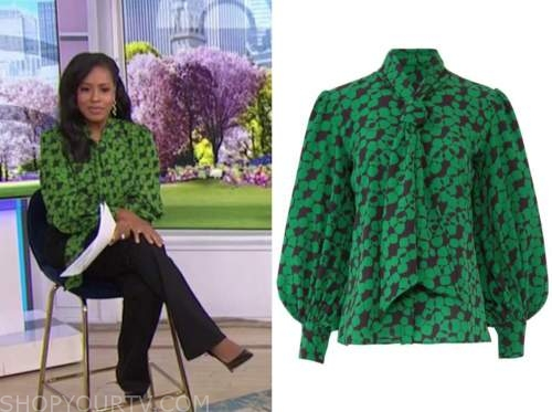 sheinelle jones, the today show, green and black printed tie neck blouse