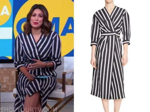 cecilia vega, striped wrap button midi dress, good morning america