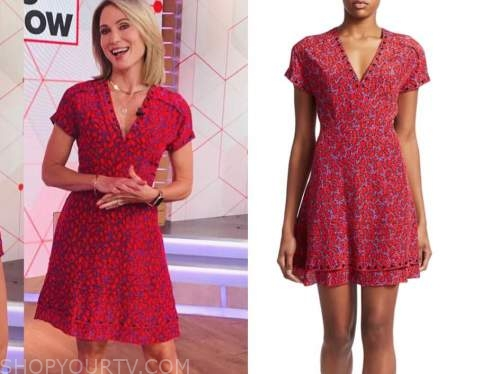 good morning america, amy robach, red printed dress