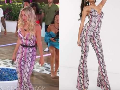 mackenzie, love island usa, pink snakeskin jumpsuit
