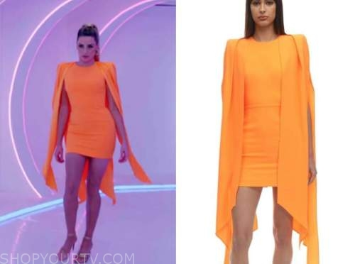 arielle vandenberg, love island usa, orange cape mini dress