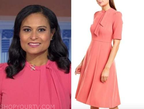 kristen welker, coral pink tie neck dress, the today show