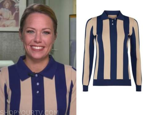 dylan dreyer, blue and tan stripe polo top, the today show