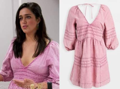 christina, married at first sight usa, pink denim dress