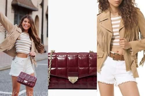 madison prewett, the bachelor, burgundy quilted bag, fringe jacket, white shorts