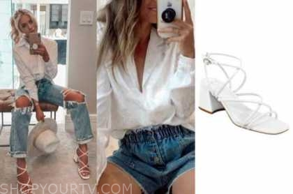 emily ferguson, the bachelor, white shirt, white sandals, ripped jeans
