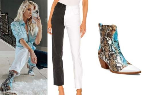 haley ferguson, snakeskin boots, two tone jeans