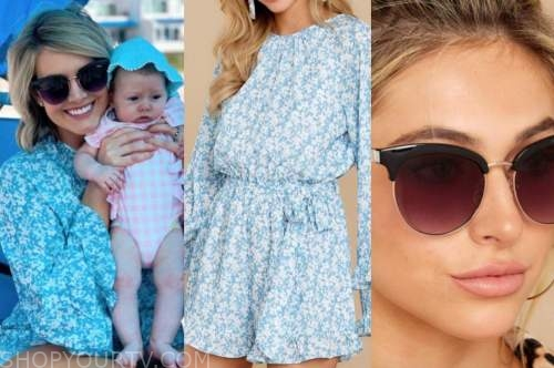 jenna cooper, blue floral romper, sunglasses, the bachelor