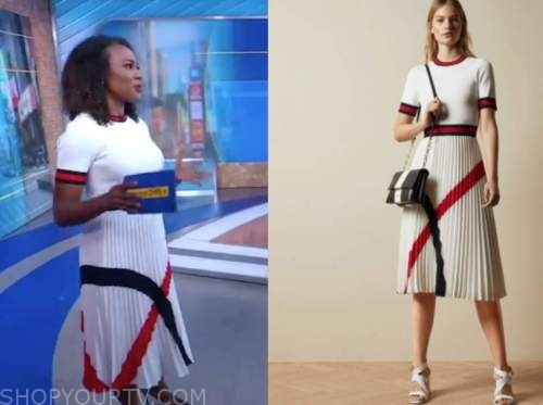 janai norman, good morning america, white pleated knit dress