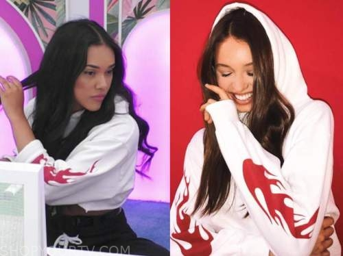 cely, love island usa, white and red flame hoodie