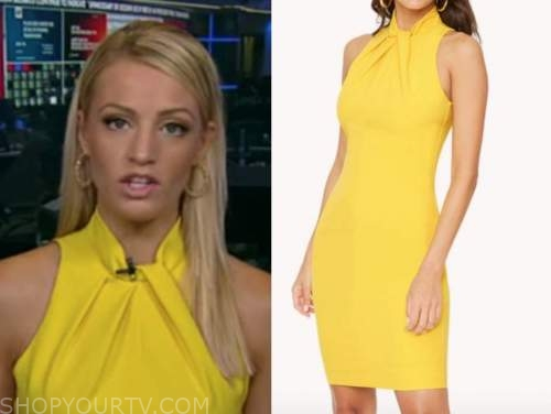 carley shimkus, fox and friends, yellow twist halter sheath dress