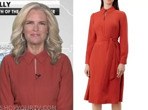janice dean, fox and friends, orange keyhole collar dress