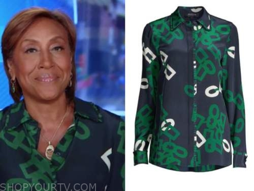 robin roberts, good morning america, blue and green link print shirt