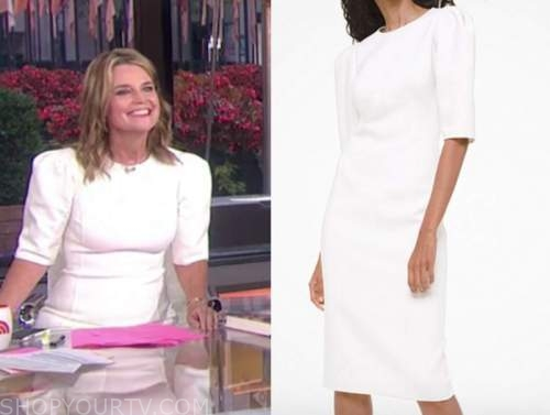 savannah guthrie, white puff sleeve sheath dress, the today show