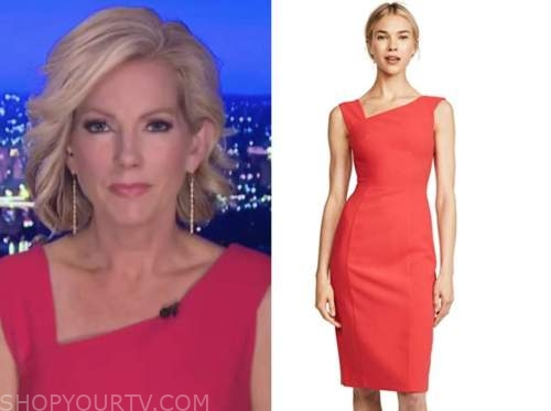 shannon bream, fox news at night, red asymmetric dress