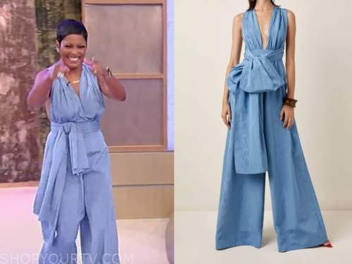 tamron hall, tamron hall show, blue wide leg jumpsuit
