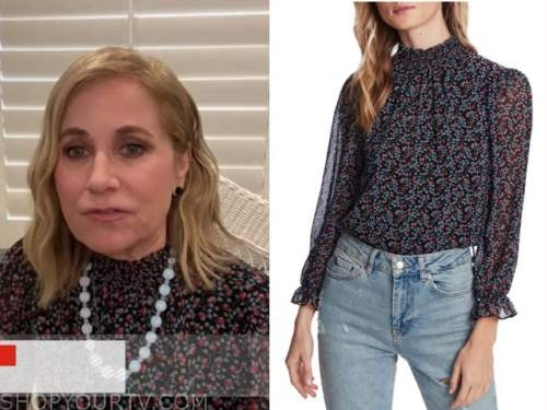 maureen mccormick, the today show, floral smocked mock neck top