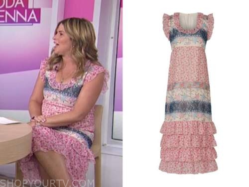 jenna bush hager, the today show, pink and blue floral ruffle dress