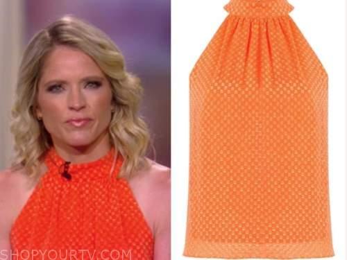 sara haines, the view, orange geometric halter top