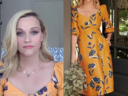 reese witherspoon, the drew barrymore show, yellow and blue floral dress