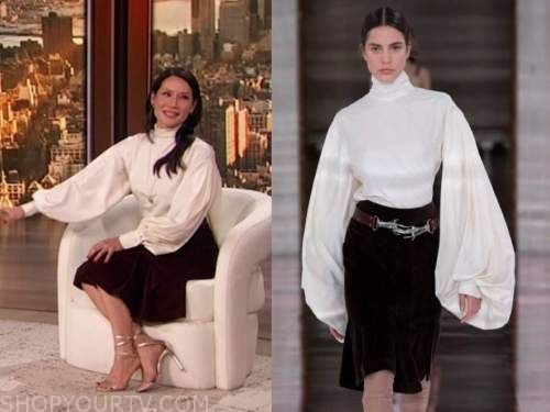 lucy liu, the drew barrymore show, ivory blouse and velvet skirt