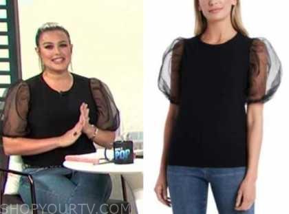 E! news, daily pop, carissa culiner, black puff sleeve top