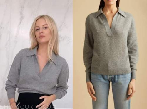 morgan stewart, E! news, daily pop, grey sweater