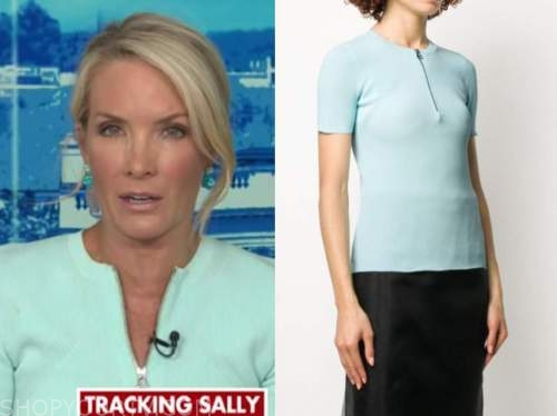 dana perino, blue ribbed zipper top, the daily briefing