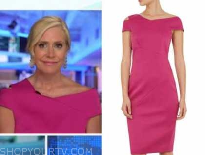 melissa francis, hot pink cutout asymmetric dress, outnumbered