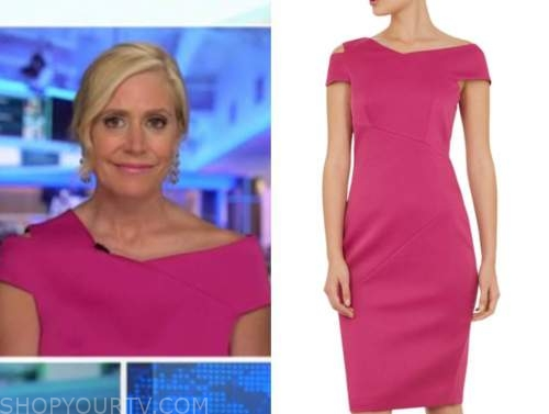 melissa francis, hot pink cutout asymmetric dress, outnumbered