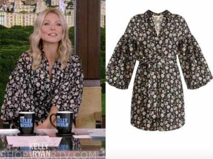 kelly ripa, black floral dress, live with kelly and ryan